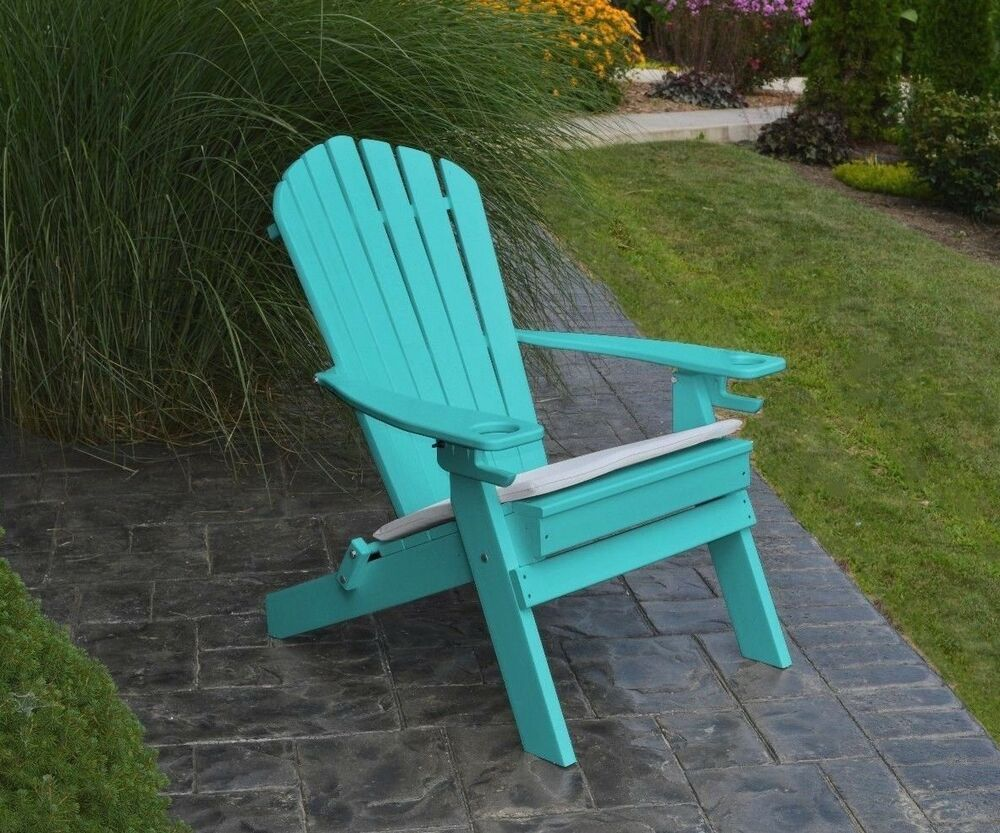 poly folding reclining adirondack chair aruba blue color