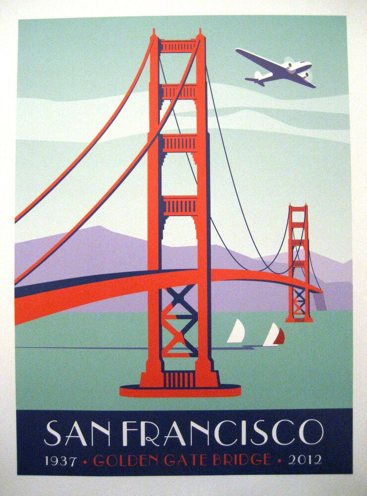 Unique art deco poster of san francisco golden gate bridge Deco san francisco