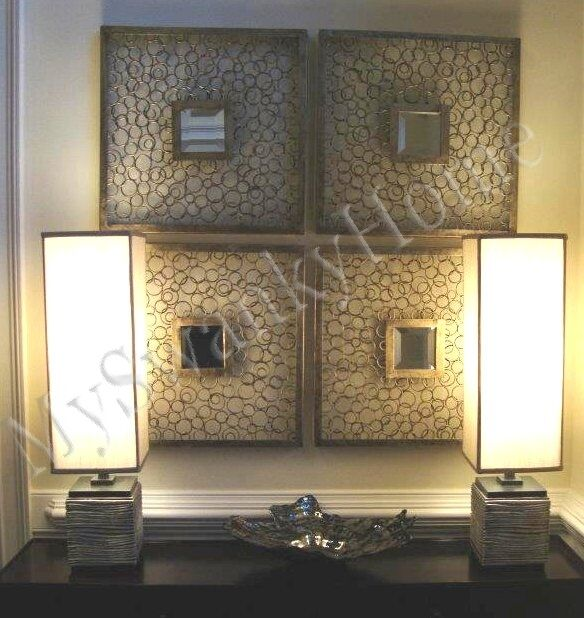Contemporary Silver Metal Squares Mirrored Wall Art Rings
