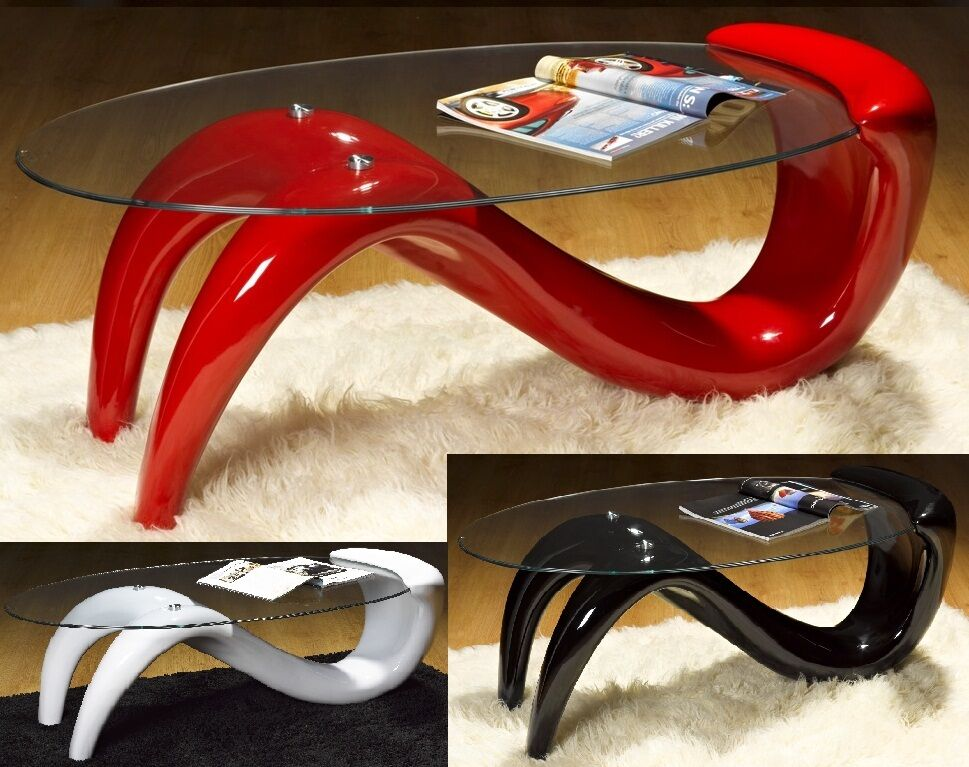 S wave black red white glass modern designer coffee table for Black and white glass coffee table