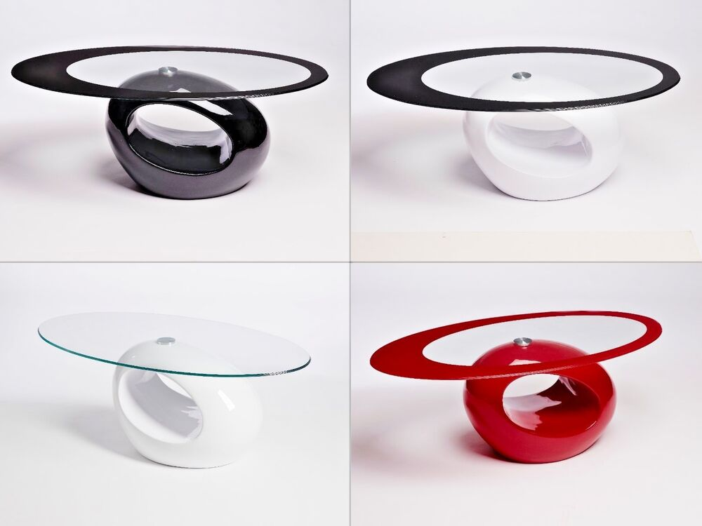 Designer oval black red white glass coffee table for Black and white glass coffee table
