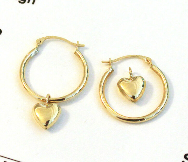 14k yellow gold hoop earrings with charm ebay