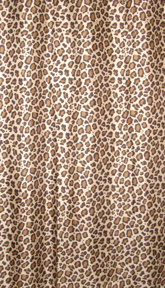 CHEETAH LEOPARD ANIMAL PRINT WEIGHTED LONG SHOWER CURTAIN