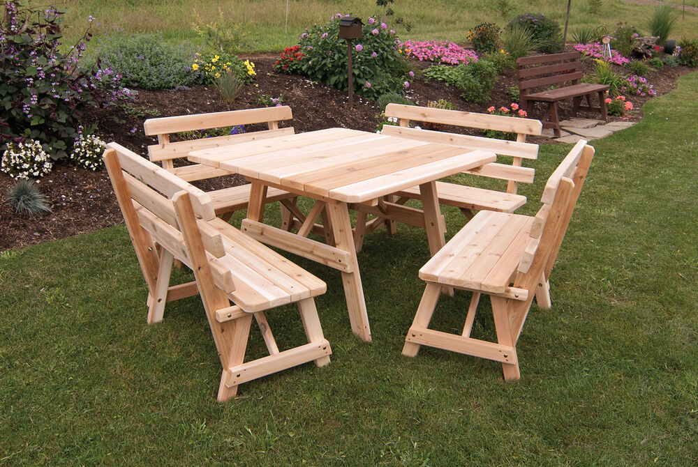 Cedar 43 Quot Square Picnic Table With 4 Backed Benches
