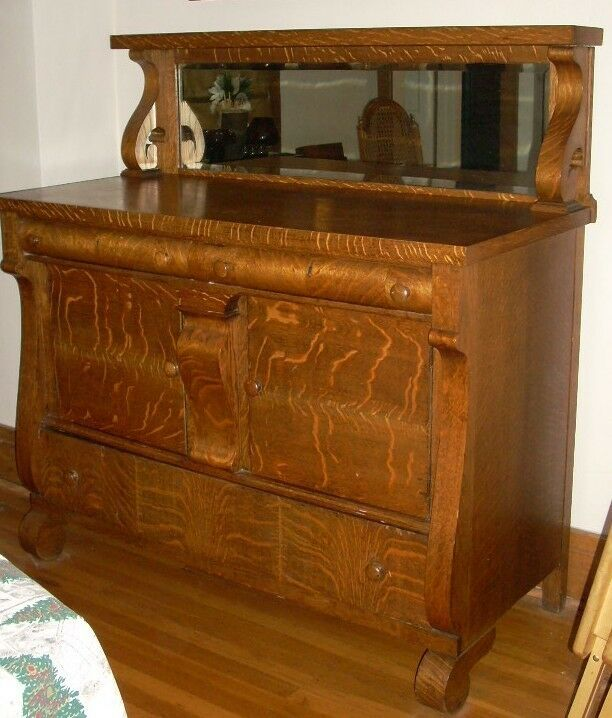 tiger oak dining room server buffet sideboard with mirror ebay