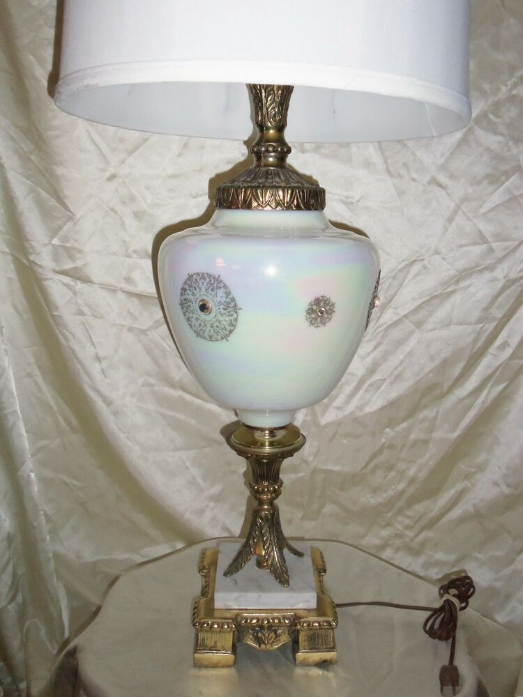 Vintage Hollywood Regency Iridescent Electric Table Lamp W