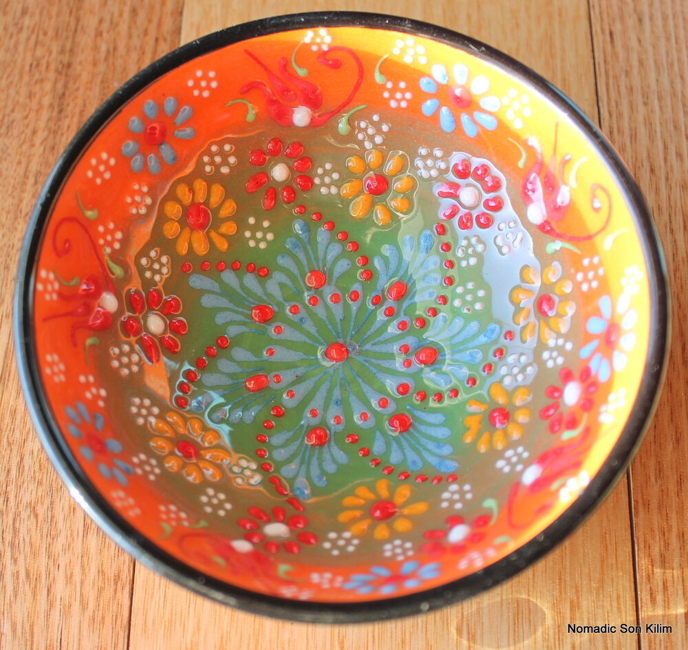 Colourful turkish ceramic bowls 12cm handmade hand for Can ceramic be painted