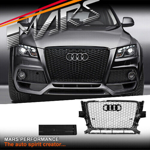 Gloss Black Honeycomb RS-Q5 Style Front Bumper Bar Grille