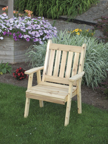 Traditional English Cedar Dining Lawn Chair Natural No Stain Amish Made Usa Ebay