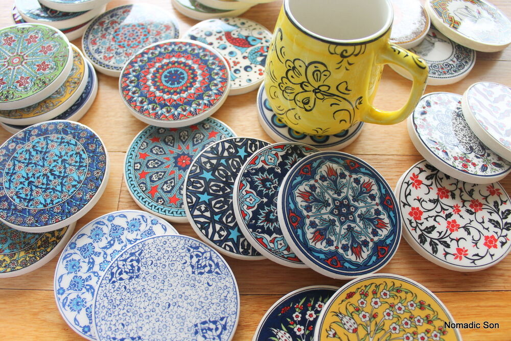 Turkish Ceramic Coasters Traditional Ottoman Designs