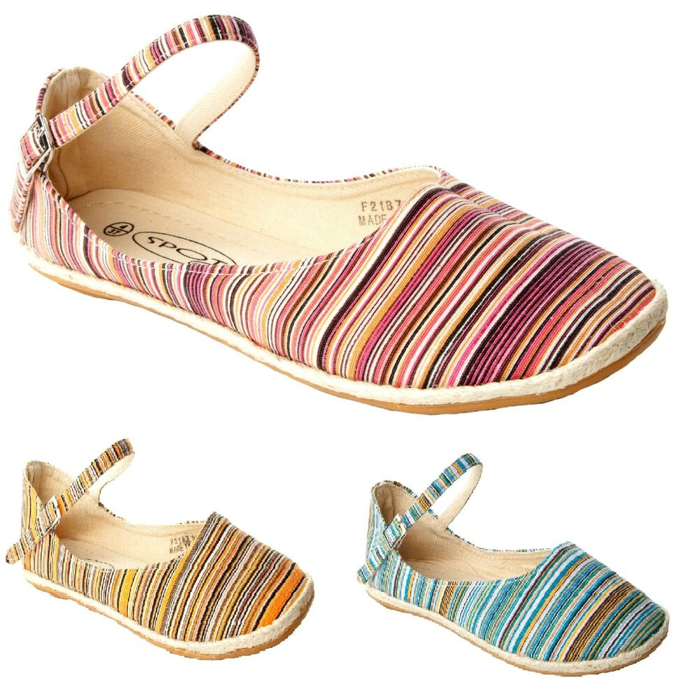 WOMENS MULTI COLOUR CANVAS FLAT DOLLY PUMPS SUMMER SHOES ...