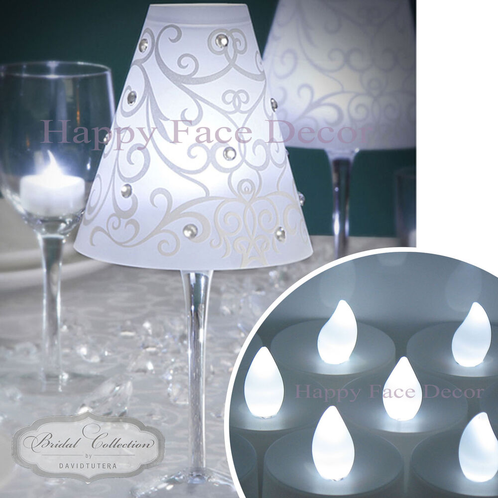 60 wine glass lamp shades 60 white led tea lights for Wine glass decorations for weddings