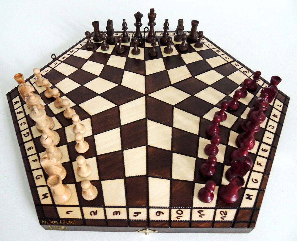 New Large 54cm Three Player Wooden Chess Set Rules Ebay