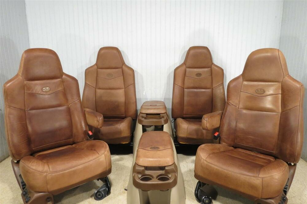 King Ranch Ford F250 F350 F550 F650 Super Duty Leather Front Seats Rear Console Ebay