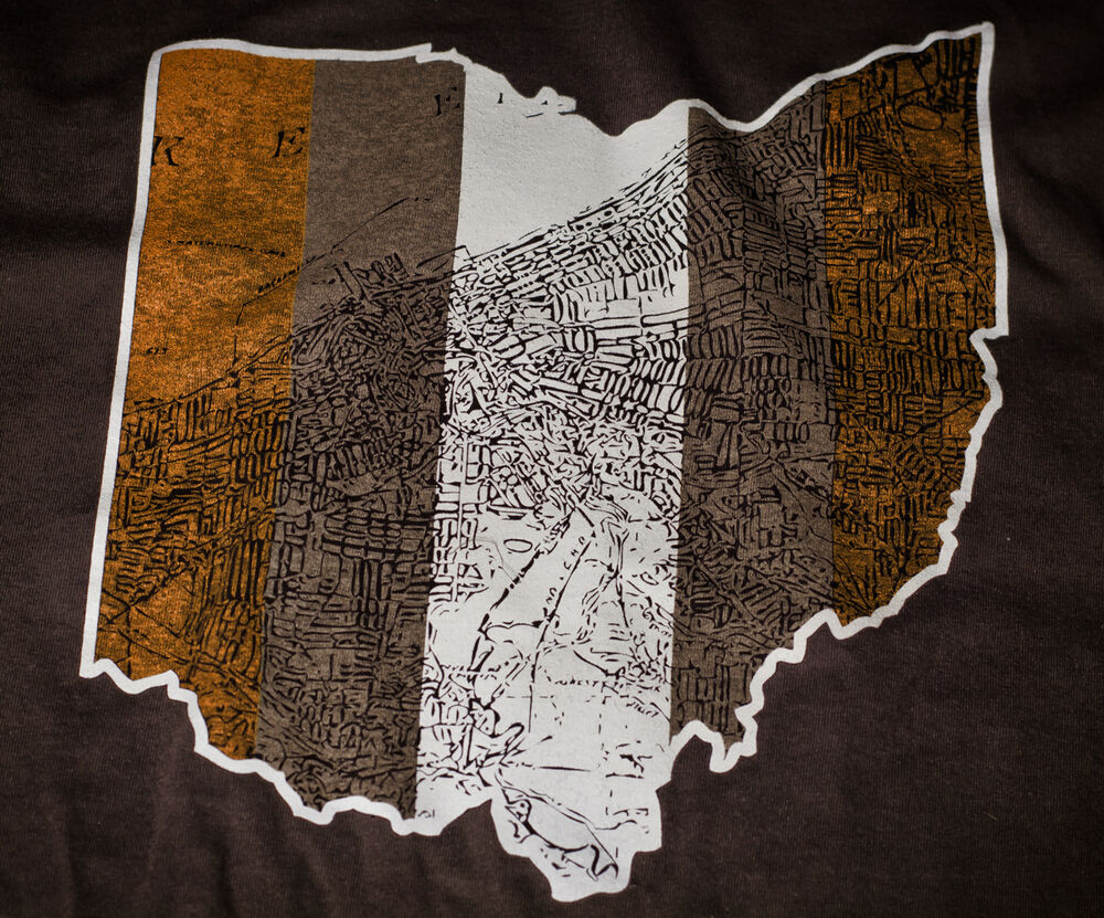 Cleveland ohio map t shirt awesome vintage print ebay for Cleveland t shirt printing
