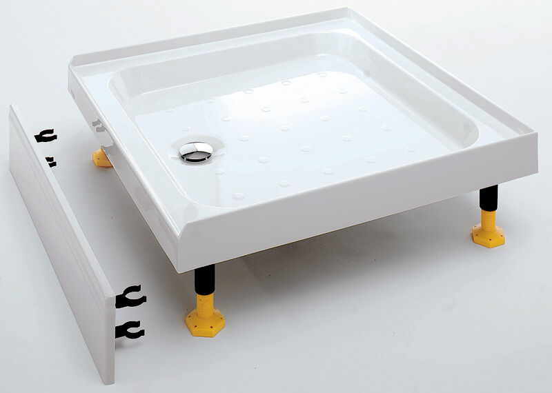 Square rectangular 3 upstand riser shower trays for for Installing a shower tray on concrete floor