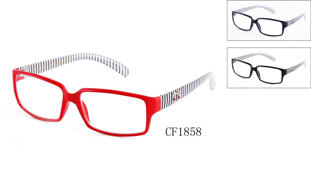 Thin Framed Fashion Glasses : Clear Lens Fashion Glasses Womens Eyewear Stripes Thin ...