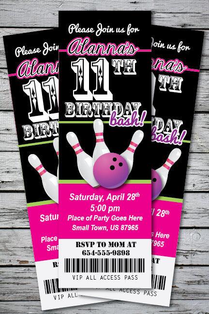 bowling birthday party invitation ticket stub any age or