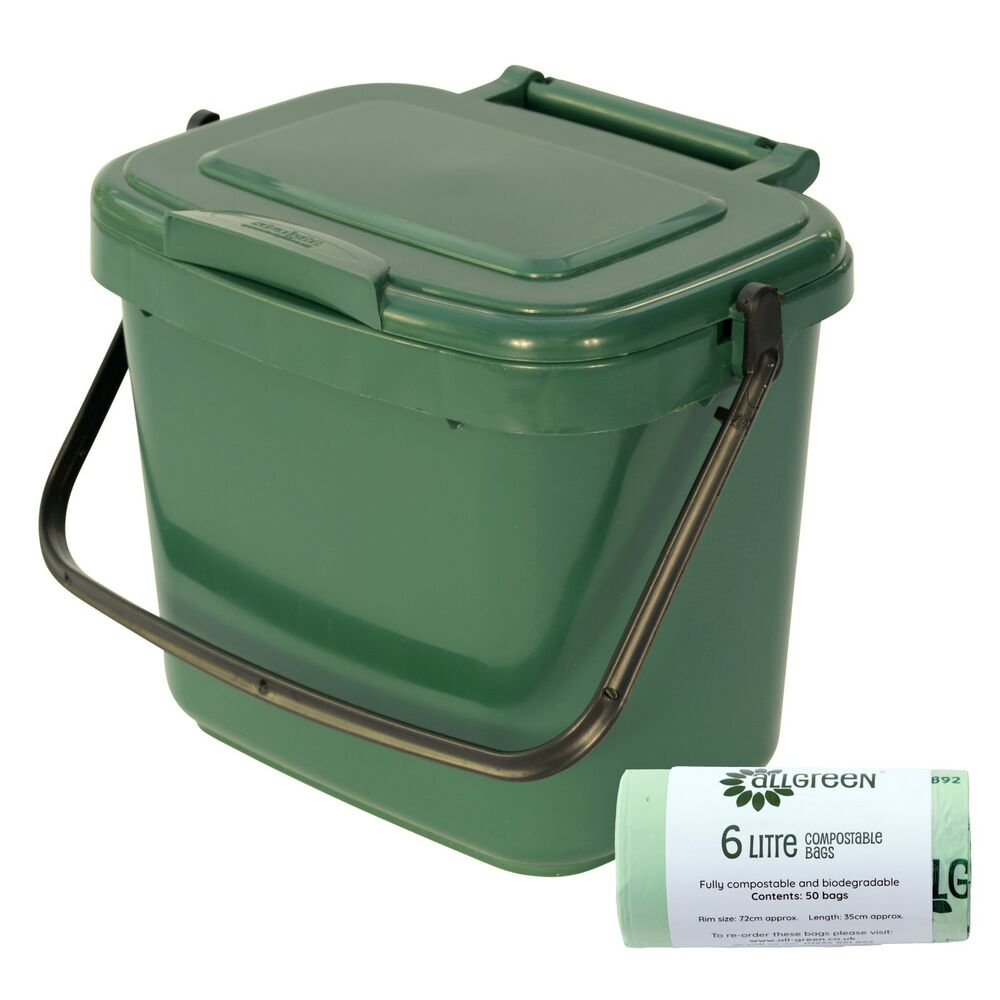 small green kitchen compost caddy 50x biobags food bin. Black Bedroom Furniture Sets. Home Design Ideas