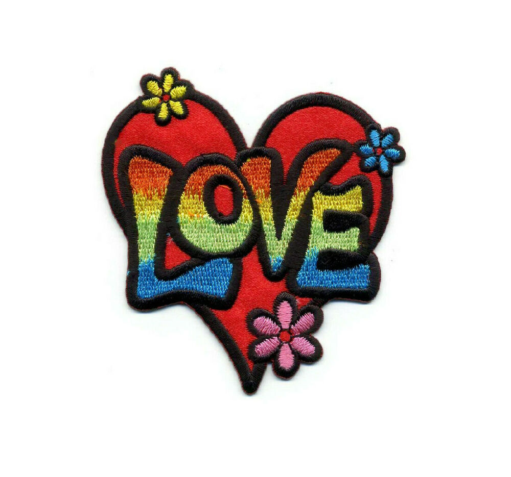 LOVE - HEART - RETRO DESIGN IRON ON APPLIQUE PATCH - EMBROIDERED U0026quot;LOVEu0026quot;/FLOWERS | EBay