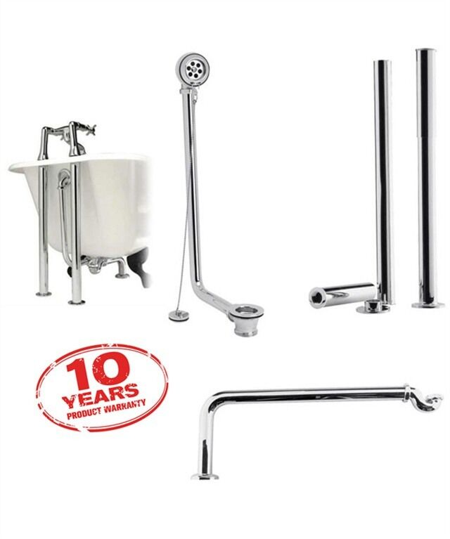 Freestanding Roll Top Bath Kit Metal Chrome Shrouds Exposed Bath Waste Pl