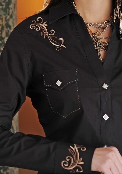 Ladies Embroidered Western Cowboy Cowgirl Shirt Panhandle ...