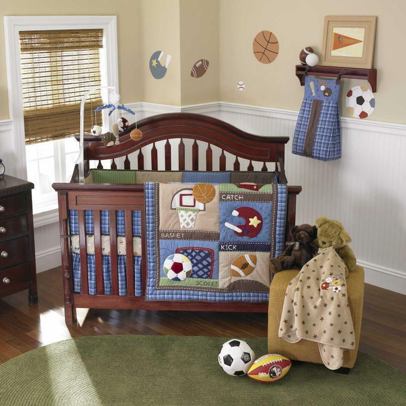Blue Sports Infant Baby Boy Football And Baseball Discounted Nursery Bedding Set