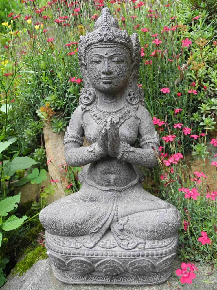 dewi tara sterneng ttin grau 40cm figur buddha steinguss statue deko garten haus ebay. Black Bedroom Furniture Sets. Home Design Ideas