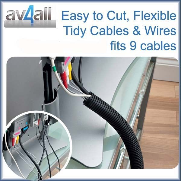 1 1 metre flexible cable wrap tidy cover in black tidy 9 tv computer wire cables ebay. Black Bedroom Furniture Sets. Home Design Ideas