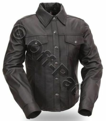 Real leather mens long sleeve black police military style for Mens military style long sleeve shirts
