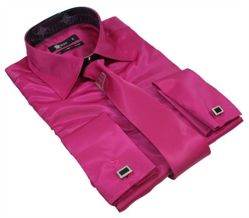 Mens Italian Design Fuschia Pink Silk Satin Finish Double
