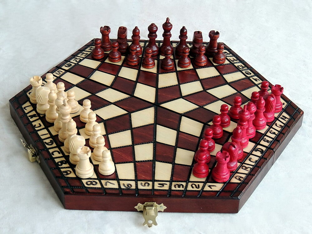 Brand New Brown Handcrafted Three Player Wooden Chess Set