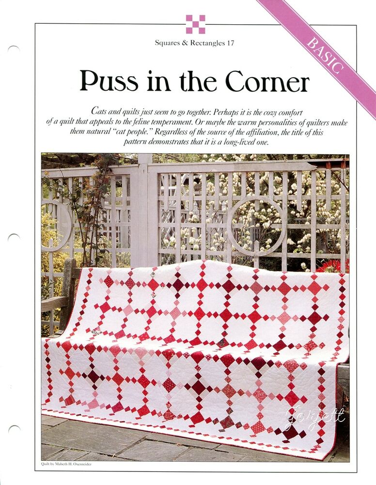 Quilt Patterns Using Squares And Rectangles : Puss in the Corner Quilt, Squares & Rectangles quilt patterns & templates eBay