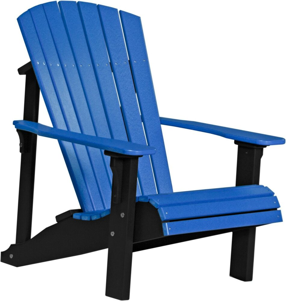 Poly Furniture Wood Deluxe Adirondack Chair Blue Amp Black
