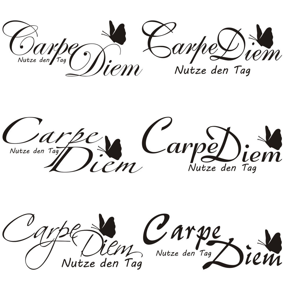 carpe diem zitat k che essen tattoo f r t r wand fliesen glas auto aufkleber 2 ebay. Black Bedroom Furniture Sets. Home Design Ideas