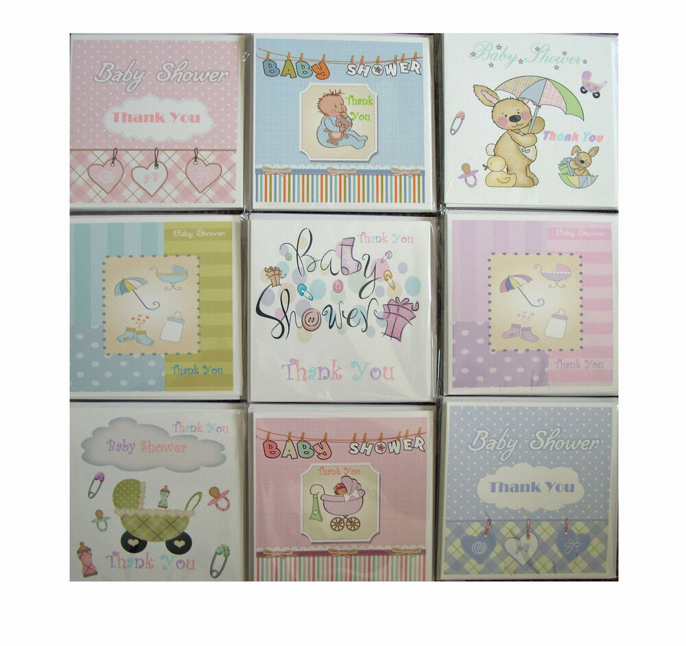 Baby Gift Thank You Card Packs : Thank you baby shower gift cards multi pack blank inside