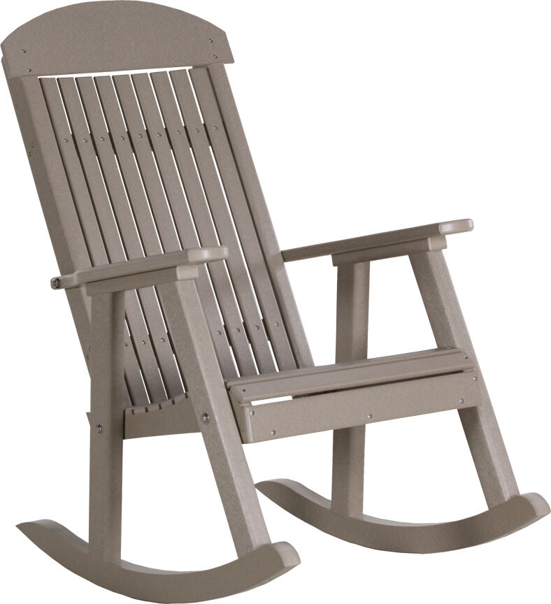poly furniture wood porch rocker weatherwood outdoor porch rocking chair ebay. Black Bedroom Furniture Sets. Home Design Ideas
