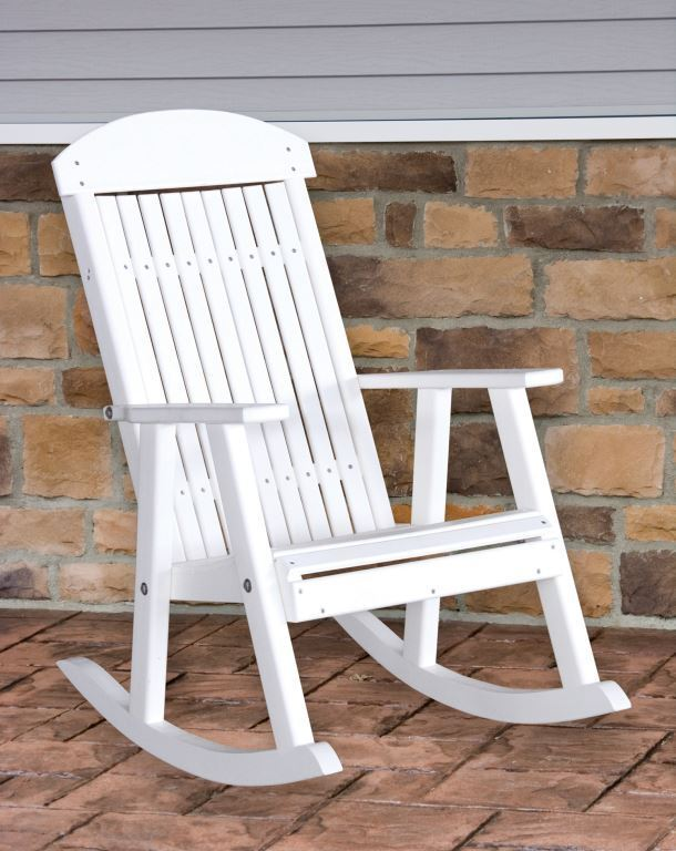 Poly Furniture Wood PORCH ROCKER WHITE Outdoor Porch Rocking Chair