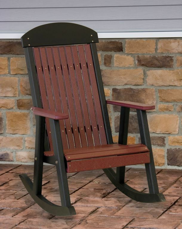 Poly Furniture Wood Porch Rocker Cherrywood Amp Black