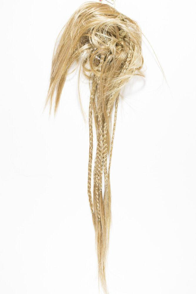 Butterscotch Blonde Long Straight Scrunchie Braids