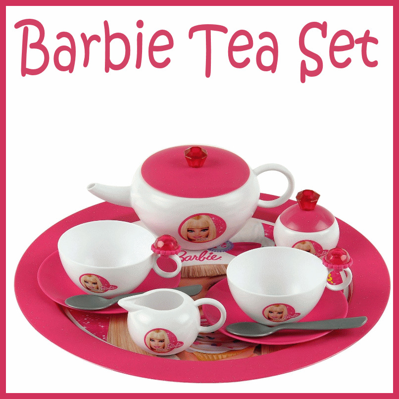 13 piece barbie themed kids tea party child play set cups teapot etc toy new ebay. Black Bedroom Furniture Sets. Home Design Ideas