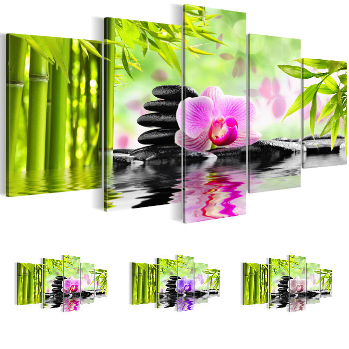 leinwand bilder bild xxl kunstdruck blumen feng shui. Black Bedroom Furniture Sets. Home Design Ideas