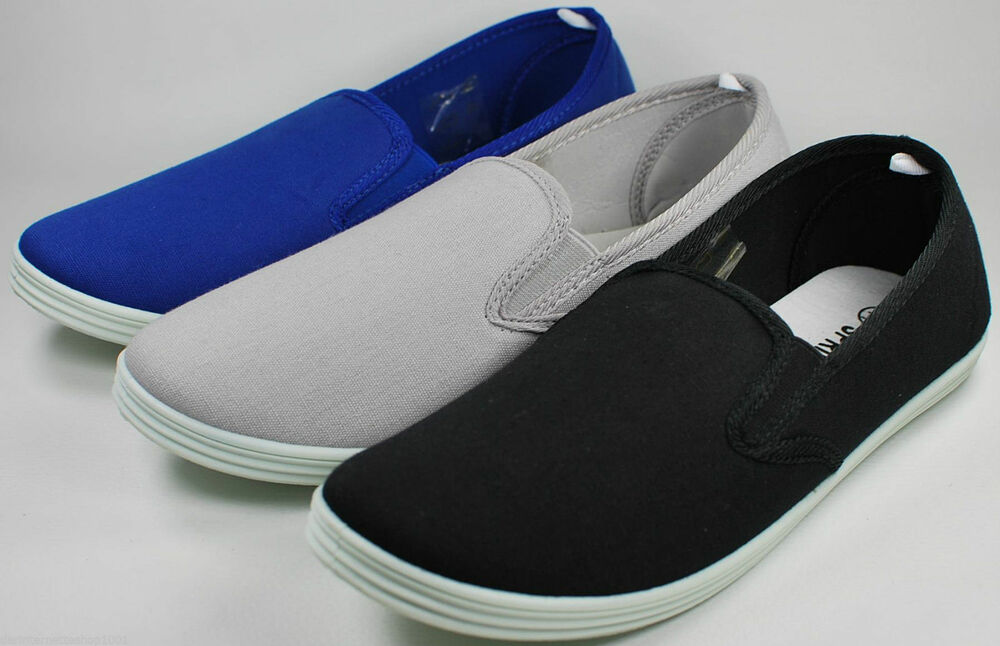 herren leinen slipper sneaker schwarz blau oder grau gr 41 42 43 44 45 neu ebay. Black Bedroom Furniture Sets. Home Design Ideas