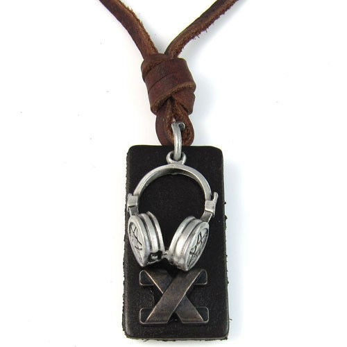 audio headphones pendant mens genuine leather