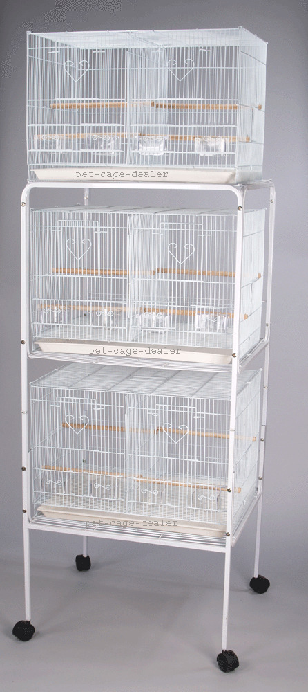 finch canary parakeet cockatiel breeding bird cage 3 cages with divider stand ebay. Black Bedroom Furniture Sets. Home Design Ideas