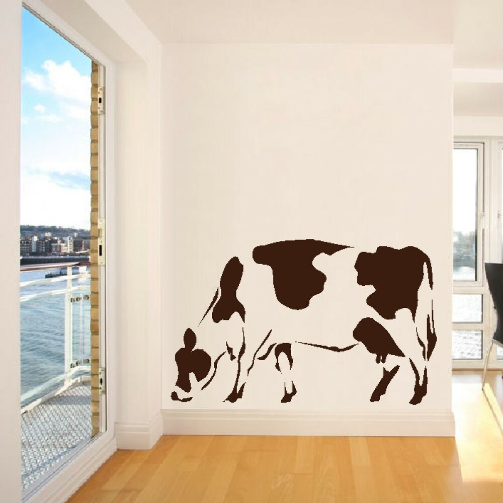 Moo cow farm animal wall sticker home art decor design for Barnyard wall mural