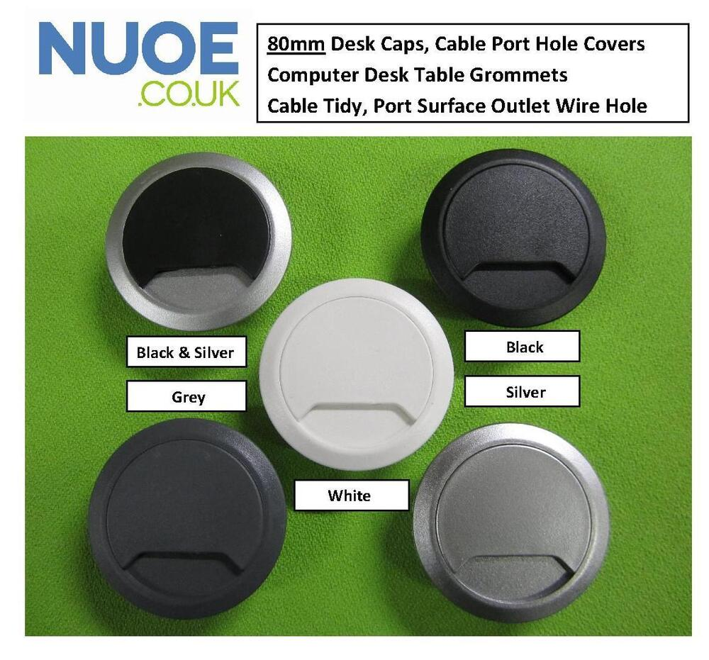 80mm Computer Desk Table Grommet Cable Tidy Port Surface Wire Hole Cover