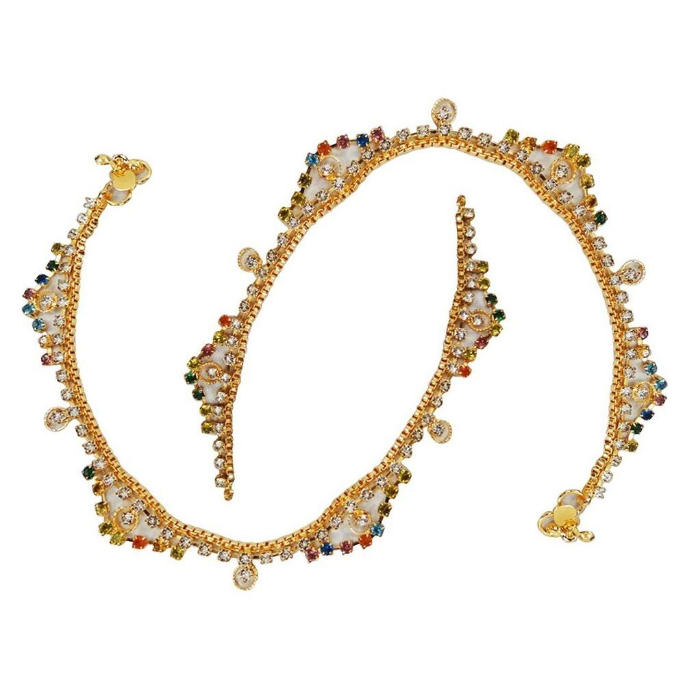 Gold Tone CZ Anklet Wedding Party Indian Traditional Ankle