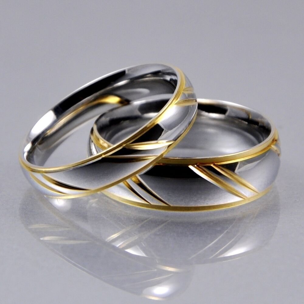 Mens women silver gold stainless steel 4mm 6mm matching for Wedding rings silver and gold