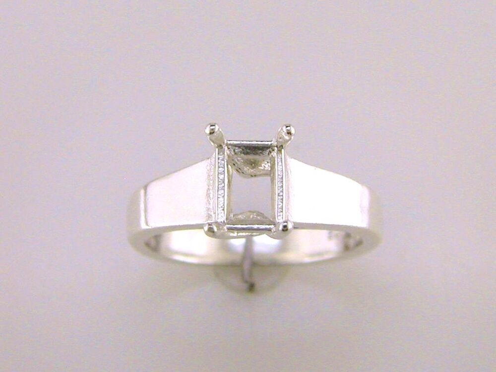 emerald cut trellis style solitaire ring setting sterling silver ebay. Black Bedroom Furniture Sets. Home Design Ideas